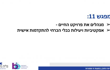 מפגש 11 | 03.09.19 |  מנהלים את פרויקט החיים באפקטיביות ויעילות